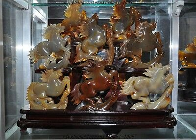 Rare China Natural Agate Onyx Carving 8 Horse Eight horses Success Lucky Statue