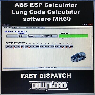 ABS ESP CALCULATOR Long Code Calculator software MK60 - $3 99 | PicClick
