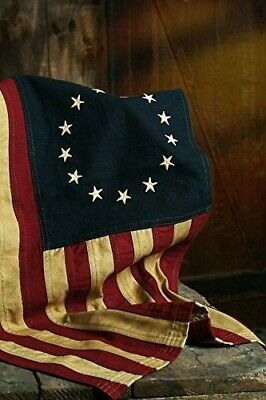 "BETSY ROSS AMERICAN FLAG 13 Stars 28"" x 17"" AGED Tea Stained Americana Primitive"