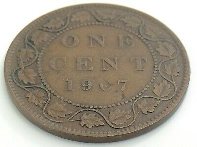 1907 Canada One 1 Cent Large Penny Copper Edward VII Circulated Coin J987