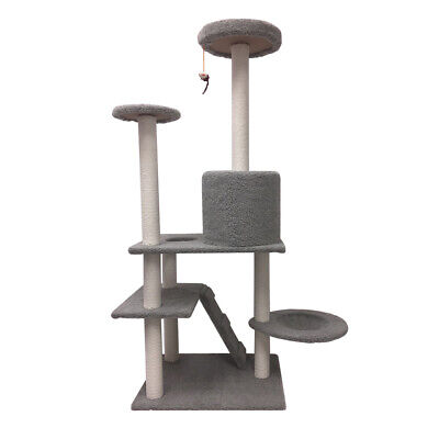 Gray Cat Tree Condo Bed Furniture Scratching Post Tower Kitten Pet Play House US