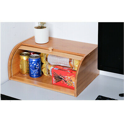 Wooden Bread Box Roll Top Bin Storage Loaf Kitchen Bread Food Containers NEW