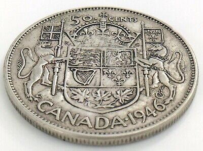 1946 Canada Fifty 50 Cent Half Dollar Canadian George VI Circulated Coin J993