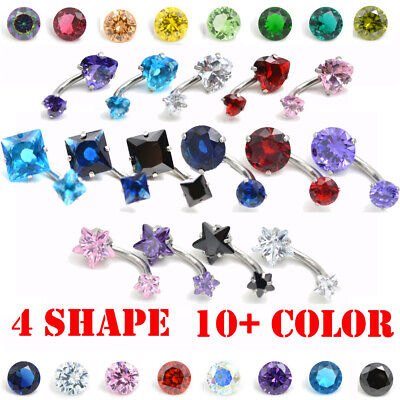 Double End Belly bar navel ring body piercing crystal shine surgical steel 316L