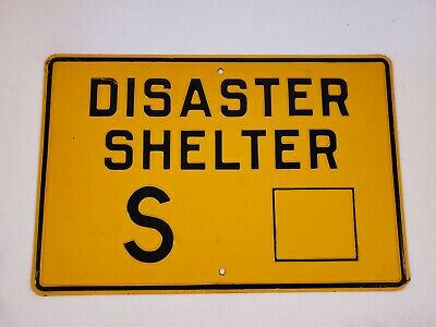 Vintage Cold War Era Atomic Bomb Disaster Shelter Embossed Sign Fallout Shelter