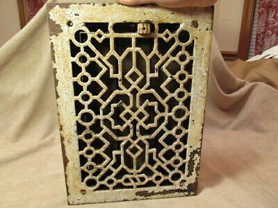 Antique Vintage Cast Iron Heat Vent Grate Rectangular Abstract Design