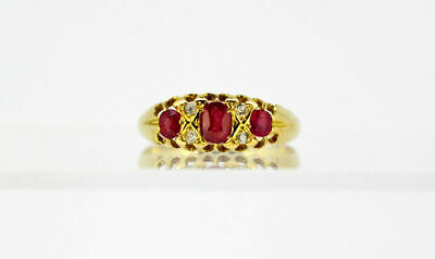 Antique Victorian 18k yellow gold ladies ring with rubies and diamonds, England
