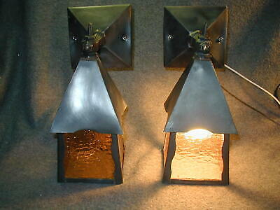 2 Antique Gothic Art Craft Craftsman 20S Bungalow Porch Light Sconce Amber Glass