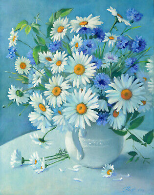 "Painting ""Summer bouquet"", daisies and cornflowers, canvas on cardboard, oil pai"
