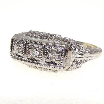 VTG Art Deco Antique 14K Gold Natural 0.10ctw Diamond Filigree Ring Size 6 LFF3