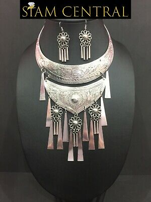 2 Row Hmong Silver-Plated Necklace Jewelry Thai Karen Tribe Woman Lady +Earrings