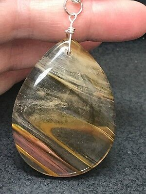 "Geode Agate Clear Gold Teardrop Crystal Tibetan Silver 18"" Necklace D896"