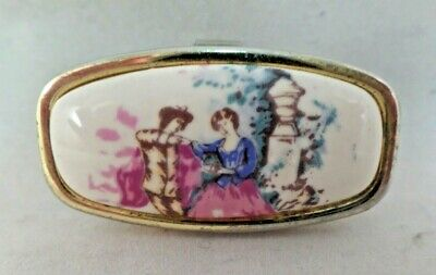 Vtg Lipstick Holder Mirror White Enamel with Victorian Couple Lovers