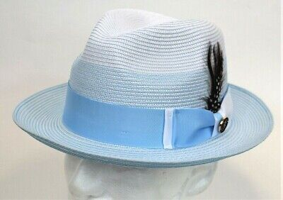 Men/'s Godfather Dress Casual Hat Summer Straw White//Black 100/% Poly Braid GF-203