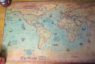 Archaic Nautical World Map Old Art Paper Painting Wall Poster, Ocean Sea Sail