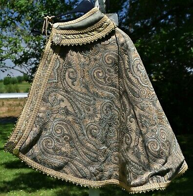 Renaissance Fighting Cape, Tan, Green Embroidery, Brass Ornaments, Tan Trim