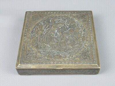 Antique Box Asian Oriental Brass Silver with Figures Mustaches and Punch