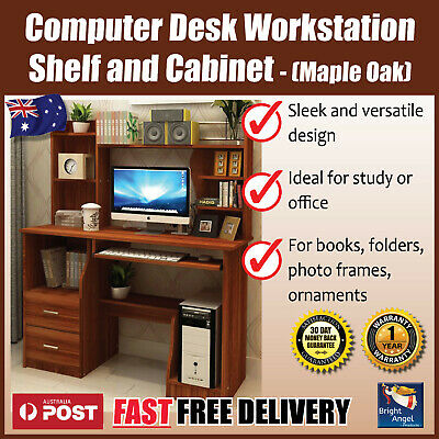 Terrific New Expert Large Computer Desk Workstation With Shelf And Cabinet Maple Oak Home Interior And Landscaping Ferensignezvosmurscom