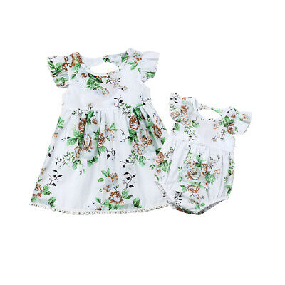 Toddler Kids Baby Girl Clothes Sister Matching Floral Romper Dress Outfit Set