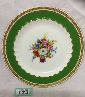 Stunning Antique Royal Worcester Hand Painted Floral Green Border Plate 1906 VGC