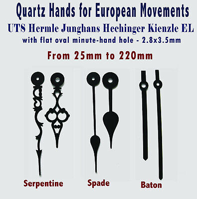 Clock HANDS Pointers Fingers for UTS quartz clock, Holes 5mm & 2.8x3.5mm EUROFIT