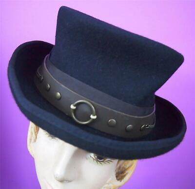 8be8b1309585eb CONNER Handmade Hats Black Organic Wool Top Hat Brass Leather Band Steampunk  S