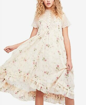 NWT Free People Midi Lace Decadent Victorian Weddings style Dress sz Small