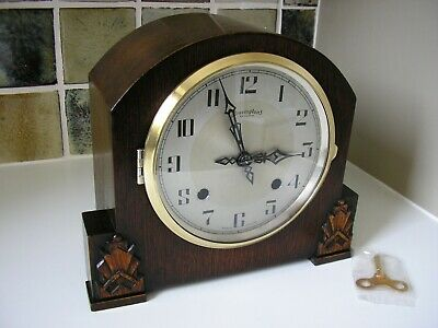 RESTORED 1930's BRAVINGTON'S / ENFIELD  STRIKING MANTLE CLOCK