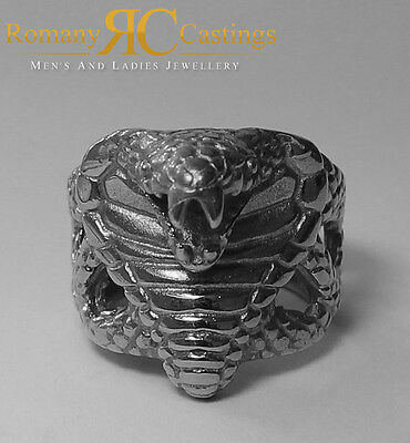 925 Sterling Silver  Unisex Cobra Snake Head Ring Fully Stamped 20.5 g Any Size