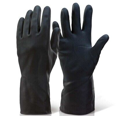 Heavy Duty Optima Tough Rubber Gloves Industrial Flock Lined Glove Medium/Large