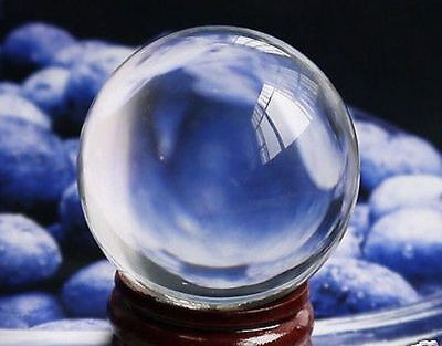 Asian Rare Glass Magic Crystal Clear Ball Sphere 40mm + Stand PP58