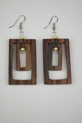 Brown colored Handmade natural organicNew Coconut Wood Double Rectangle Earrings
