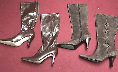 2 Pairs Of Womens Brown Knee High Boots