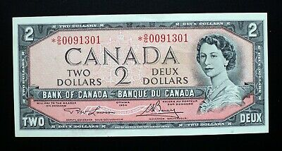 1954 Bank of Canada $2 Dollars Replacement Note *O/G 0091301  BC-38dA