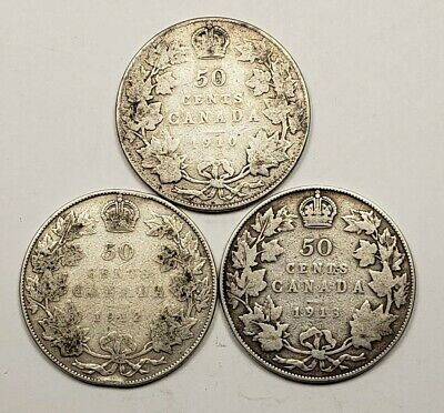 1910 1912 1913 Canada Silver 50 Fifty Cents 3 Different Coin Lot