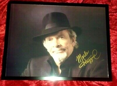 """Merle Haggard - Hand Signed Photo  """"Merle In A Black Hat""""  (Gold Paint Pen)"""