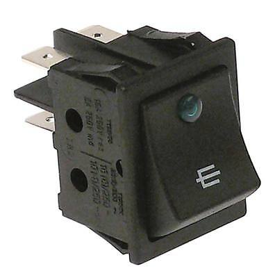Rocker Switch with LED 2-pin 250V 2NO Green Connection Faston 6,3mm Illuminated