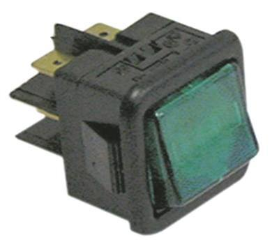Rocker Switch 2-pin 250V 2CO Green Connection Faston 6,3mm Illuminated 16A