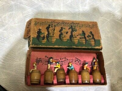 Rag Time Band in Original Box (6) Musicians on Barrels. Vintage Country Music