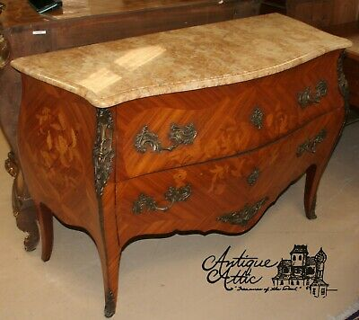Antique French Bombe Marquetry Inlaid  Commode 2 Drawers Marble Top Louis XV