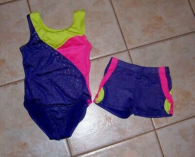 726034e28698 Freestyle Danskin Gymnastics Leotard & Shorts Set Bling Medium 7/8 & 6/6X