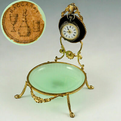 Antique French Baccarat Green Opaline Glass Pocket Watch Holder Display Stand
