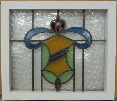 "OLD ENGLISH LEADED STAINED GLASS WINDOW Nice Abstract Shield Design 21.75"" x 19"""