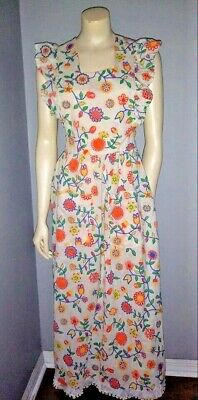 Vintage 1960s Pinafore Over Dress Full Apron Floral Ruffled Neon Embroidered OS