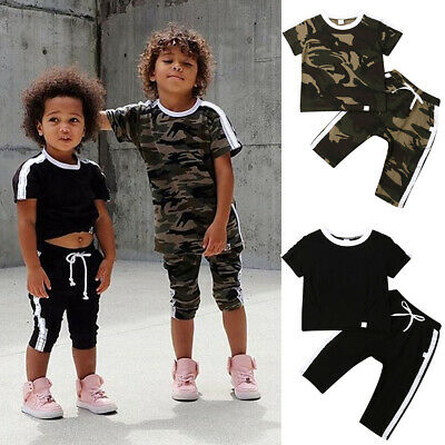 Toddler Kids Baby Boys Girls Short Sleeve Camouflage Tops+Long Pants Outfits Set