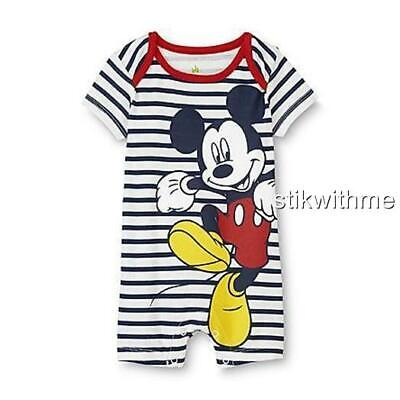 dfcf0a669 Disney Mickey Mouse One-Pieces SS Graphic Romper - Striped Baby Boys' (0