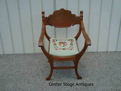 60113 Antique Victorian Oak U- Chair  with Needlepoint Seat