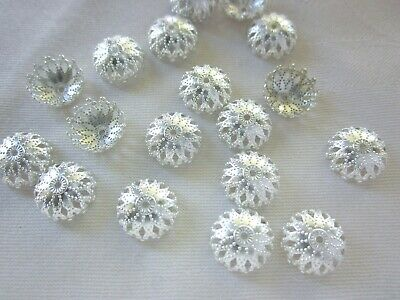 30 Silver Coloured 12mmx5mm Filigree Bead Caps #bc2543 Jewellery Making Findings