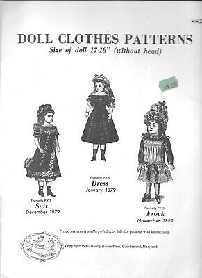 """Doll clothes sewing pattern 17-18"""" Hobby house vintage style 1880's dress frock"""