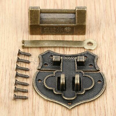 Chinese Old Jewelry Box Padlock & Antique Bronze Heart Buckle Latch Hasp Clasp